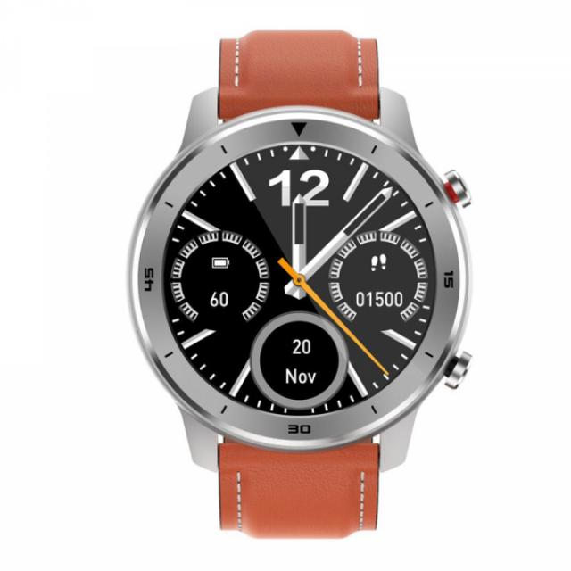 Pametni satovi i oprema - MOYE WATCH DT78 BLACK ORANGE LEATHER STRAP - SILVER WATCH - Avalon ltd